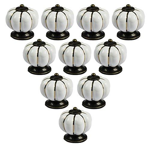 Perilla PsmGoods® estilo europeo vintage de cerámica con forma de calabaza para puerta, cajón, aparador de cocina, armario, alacena. 10unidades, Blanco