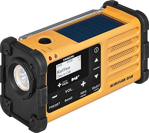 Sangean MMR-88 DAB+ tragbares Kurbelradio (UKW/DAB+ Tuner, Taschenlampe, integrierter Li-Ion-Akku, Kopfhöreranschluss) gelb/schwarz -