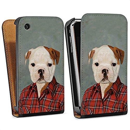 Apple iPhone 5 Housse étui coque protection Chien Chien Bouledogue Sac Downflip noir