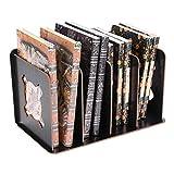 Portariviste in legno resistente staccabile portabottiglie da scrivania desktop Book 4scomparti divisori e documento rack rack display Storage box Reggilibri leggio per ufficio casa scuola Nero