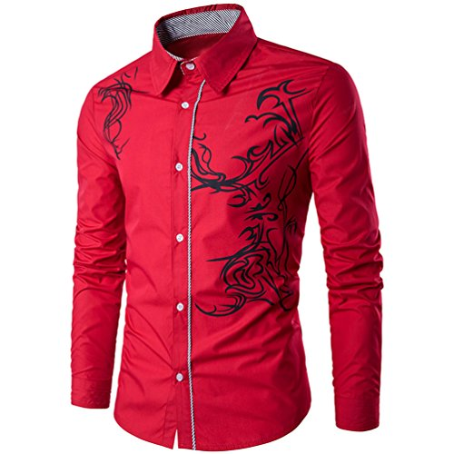 Herren Hemd Slim Sleeve Dragon T-Shirt, Weinrot, (Männer Kleid Stil Für 1980)