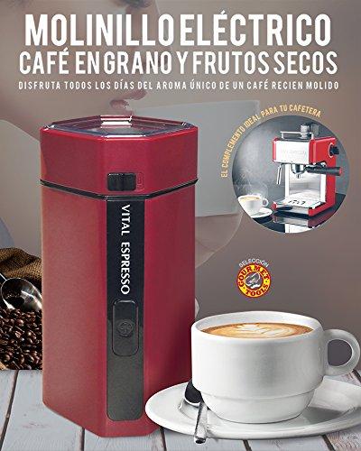 VITAL ESPRESSO. MOLINILLO DE CAFE, FRUTOS SECOS Y ESPECIAS. POTENCIA 150 watios, CAPACIDAD DE 50 gr., CUCHILLAS ANTI DESGASTE DE ACERO INOXIDABLE