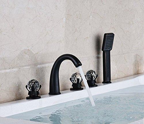 Gowe de salle de bain Largement 5pc Baignoire robinet mélangeur avec douchette Baignoire mélangeurs Couleur : Bordeaux