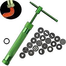 Extrusora de arcilla -Kalolary acero inoxidable verde atestado de máquina de barro polímero Pistola de papel y pastel Fondant Sculpture que adorna la herramienta que fija con 20 discos intercambiables