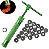 Kalolary Clay Extruder Stainless Steel Green Crowded Mud Machine Polymer Craft Gun Cake Fondant Sculpture Decorating Tool Set with 20 interchangeable discs