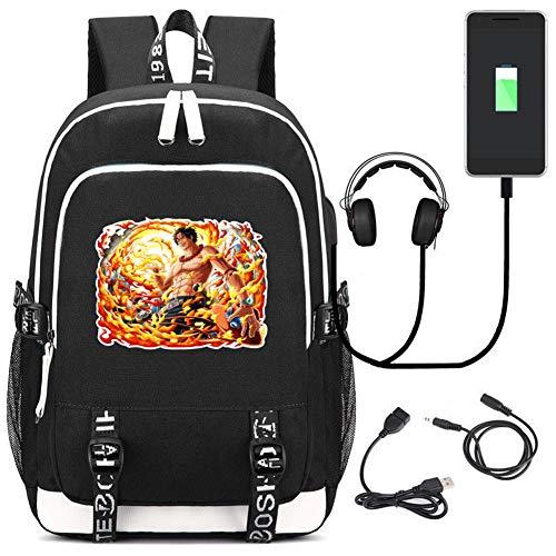 QAZX EIN Stück Student Rucksack Laptop Schultasche Unisex Freizeit Reise Tagesrucksack mit USB-Ladeanschluss,Black,A -
