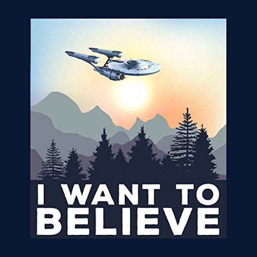 I Want To Believe Star Trek USS Enterprise X Files Women's Vest Navy blue