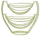 Plantex Stainless Steel Double Step Swing Fruit & Vegetable Basket for Kitchen / Fruit Basket for Dining Table / Fruit & Vegetable Storage Basket - Green