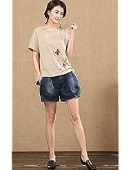 LEYAN-Gran pierna delgada cintura suelta Jean tamaño la cintura elastica pantalones mujer Xia Haren,L,Denim Blue