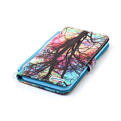 iPhone 6 Plus Hülle,iPhone 6 Plus Tasche,iPhone 6s Plus Hülle, iPhone 6 Plus iPhone 6S Plus Leder Cover,Cozy Hut PU Leder Hülle für iPhone 6 6S Plus Ledertasche Schutzhülle Case[Stand Feature] Flip Ca Farbige Bäume