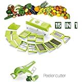 Combo Of Peeler Cutter And Multi Chopper Set Fruit & Vegetable Graters, Slicer, Chipser, Dicer, Cutter Chopper, Peeler - All In One Special Offer (Green B)