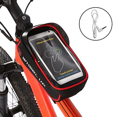 Alomejor Wasserdichte Fahrrad-Tasche, mit Rohr-Rahmen mit Tasche Tanktasche Handy-Zubehör, schwarz/rot (Rohrrahmen)