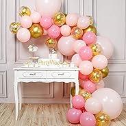 PartyWoo Roze En Gouden Ballonnen, 66 Stuks Roze Ballonnen, Metallic Gouden Ballonnen, Pastelroze Ballonnen En