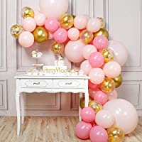 PartyWoo Pink and Gold Balloons, 66 pcs Pink Balloons, Metallic Gold Balloons, Pastel Pink Balloons and Gold Confetti Balloons for Pink Balloon Garland, 4 pcs 18 Inch Giant Pink Balloons Included