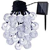 Solar String Lights Waterproof Solar Cystal Balls 22ft 50 LED Fairy Crystal Ball Lighting For Garden, Outdoor,Indoor, Wedding Party, Christmas,Party (Warm White)