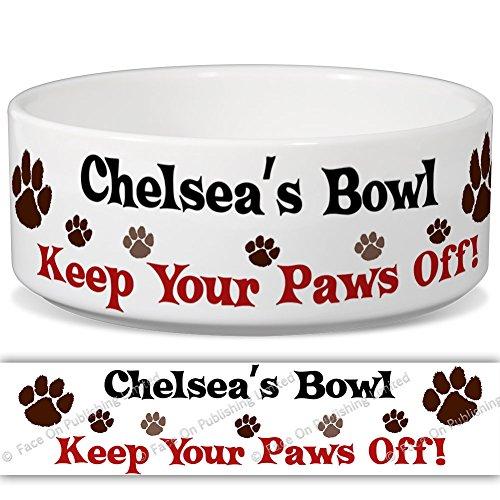 Chelsea 's Schüssel-Keep Your Paws Off. Personalisiert Name Keramik Pet Futternapf-2Größen erhältlich -