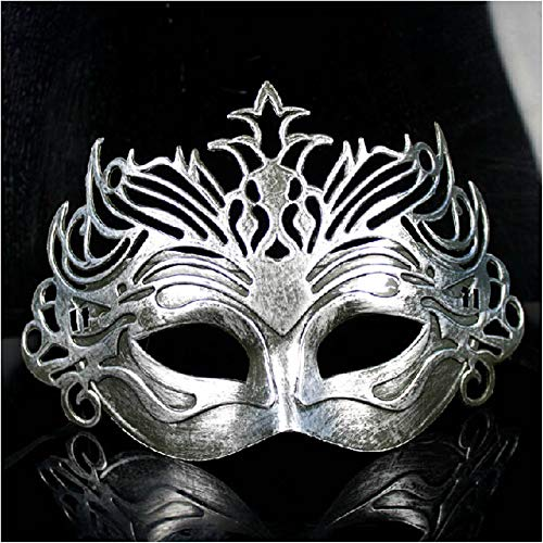 NUOKAI Maskenmaske des antiken Maskenballmannes der Maske alte römische Kriegerkronenmaske, Silber
