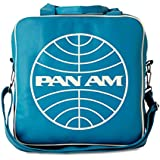 PAN AM Record Bag Globe Bag Shoulder Bag Retro Look with Logo Licensed with Metal Studs, High Quality Turquoise