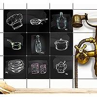 creatisto Auto-adhésif décoratif carreaux | En applique sur le mur - stickers muraux carreaux - cuisine et salle d'eau | Stickers carrelage - Design Cuisine - 10x10 cm - 9 pièces