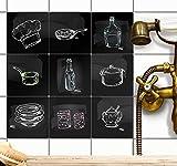 creatisto Fliesen zum Aufkleben Klebefliesen u. Fliesenfolie | Fliesenaufkleber für Küchenfliesen - Küchen Deko Wandfliesen Fliesensticker | 15x15 cm - Motiv Kochspaß - 9 Stück