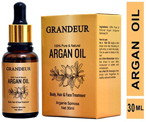 Grandeur 100% Pure & Natural Moroccan Argan Oil 30ml, for Dry and Coarse Hair & Skin care 30ml