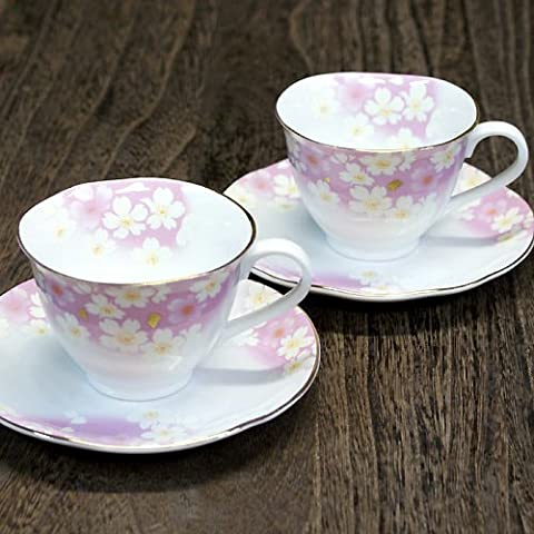 Dance of Kutani pottery coffee cup and saucer pair set gold leaf flower (japan import)