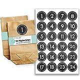 Papierdrachen Adventskalender Set - 24 braune Papiertüten und 24 Schwarze Tafeloptik Zahlenaufkleber - zum Selbermachen und Befüllen - Mini Set Nr 45 - Weihnachten 2018