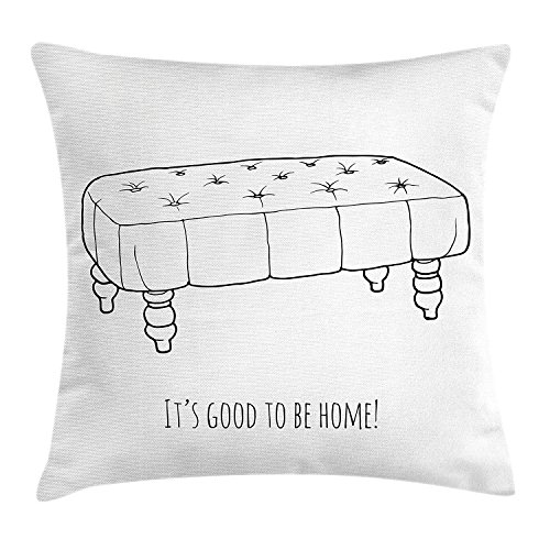 It's Good to Be Home Throw Pillow Cushion Cover, Vintage Style Rectangular Comfy Antique Sea Figure with Quote, Decorative Square Accent Pillow Case, 18 X 18 inches, Black and White