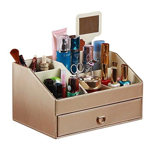 MMM Miroir cosmétique européenne Cassette tiroir de rangement Creative Desktop Boîte de rangement étagère ( Couleur : Or )