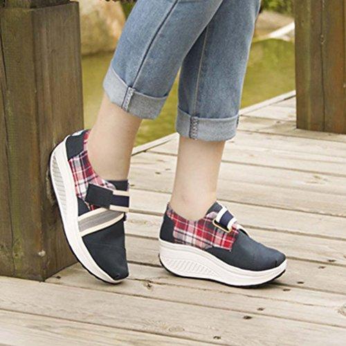solshine Femme Print Canvas Loisirs Chaussures Sneakers Tendance avec talon compensé Sport Bleu - Royal Blau