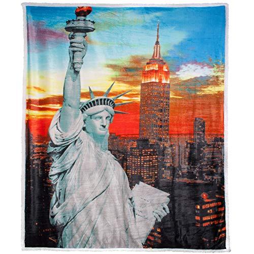CelinaTex Plaid avec Motif imprimé 150x 200cm Microfibre, Aspect Peau d'agneau ATEX 5000210Quinta New York Gris