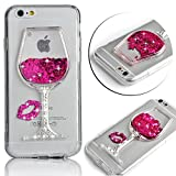 für iPhone 8 Plus Hülle, Yousorld 3D Kreativer Lustiger Netter Sich Hin- und herbewegender Schein Bling Glitter Star Rot Weinglas handyhülle für iPhone 8 Plus/7 Plus 5.5 +1x Handschlaufe (Silber)