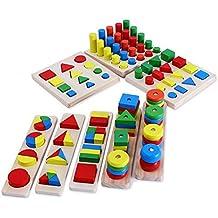 Highdas bebé Los primeros juguetes educativos, rompecabezas de madera, Montessori Enseñanza Surtido geométrica Clasificador Shape Puzzle Junta 8 Set