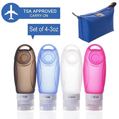 Bouteilles de voyage en silicone TSA approuvé Rechargeable Squeezable avec ventouse pour Shampooing, conditionné Articles de toilette, sans BPA FDA approuvé avec 1 sac de beauté bleu, 3 Oz 4 Pack