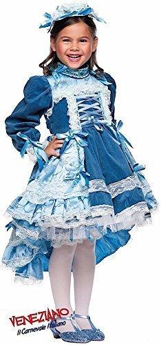Italian made Deluxe Mädchen blau Französisch Aristocrat Tanz Festzug Karneval Buch Tag Woche Französisch Kostüm Kleid Outfit 0-6 Jahre - Blau, 4 years (Tanz Kostüme Edelsteine)