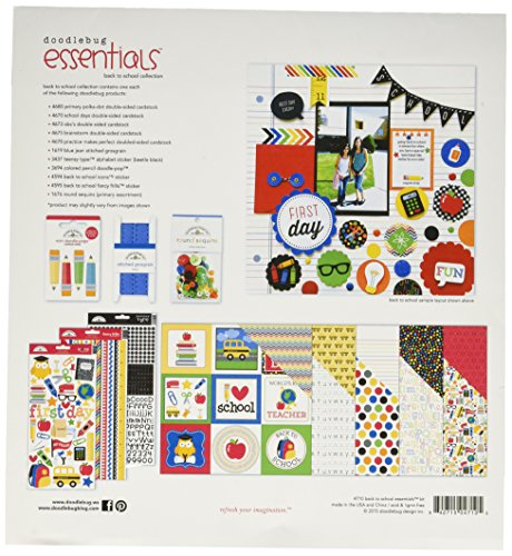 Doodlebug Papier Essentials Seite Kit 12Zoll x 12Zoll, Back to School (Essentials Tool-kit)