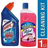 Harpic Powerplus Original - 500 ml with Lizol Disinfectant Floor Cleaner - 500 ml (Floral)