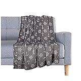 Delindo Lifestyle® Kuscheldecke Nautic GRAU, Microfaser Fleece-Decke in 150x200 cm, flauschig weiche Maritime Wohndecke für Erwachsene und Kinder