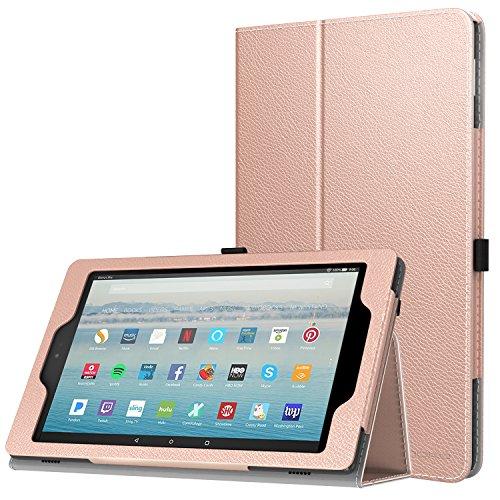MoKo Hülle Fire HD 10 Tablet (7th Gen.- 2017 Modell) - Kunstleder Ständer Schutzhülle Smart Cover mit Auto Sleep/Wake up für All-New Amazon Fire HD 10,1 Zoll Tablette, Rose Gold