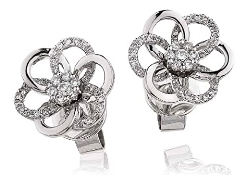 0.20CT Certified G/VS2 Round Brilliant Cut Cluster Flower Shape Diamond Stud Earrings in 18K White Gold