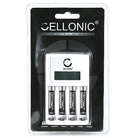 Cellonic® chargeur de piles rapide avec écran LED - adaptable / réglable piles AA / AAA - Inclus 4 piles AAA Cellonic® accu rechargeables - AAA Accu 1000mAh (Micro, HR03)