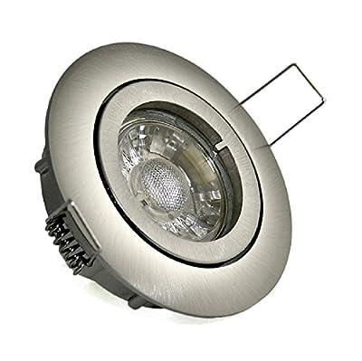 Einbaustrahler Lisa 230V GU10 IP20 Farbe Edelstahl gebürstet 5 Watt Power LED Warmweiß entspricht einer 50 Watt Leuchte von Kamilux - Lampenhans.de