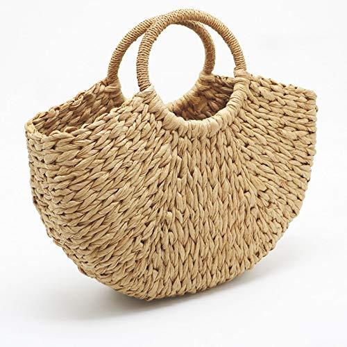 CBSTBLLL Handgemachte Strandtasche Runde Stroh Totes Bag großen Eimer Sommer Taschen Frauen natürliche Korb Handtasche -
