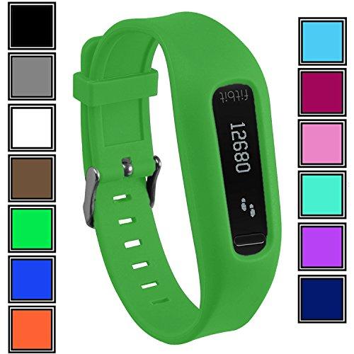 DelTex Silikon-Armband mit sicherem, verstellbarem Schnallenverschluss für Fitbit One Aktivitäts-Tracker, grün