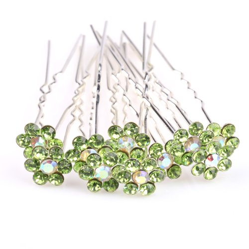 ILOVEDIY 10pcs Rhinestones Crystal Hair Pins for Buns Bridal Weddings Hair Accessories (Green)