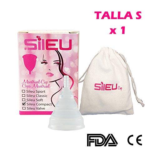 Menstruationstasse Sileu Modell Compact Bequem faltbar aus chirurgischem medizinischem Silikon, geringe Größe - Frauen, die keine Kinder hatten und / oder unter 25 Jahre alt sind
