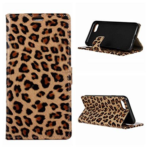 Voguecase® Per Apple iPhone 7 Plus 5.5, (Leopard giallo) Elegante borsa in pelle Custodia finestra (Leopard Elegante)