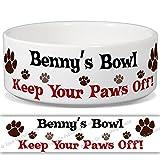 Benny 's Schüssel–Keep Your Paws Off. Personalisiert Name Keramik Pet Futternapf–2Größen erhältlich
