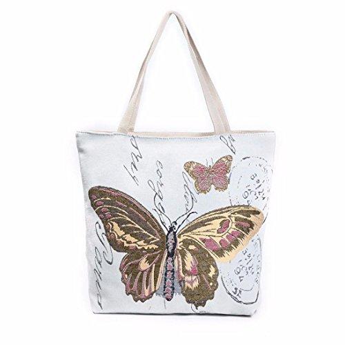 Strand Tasche Tote Handtasche (Longra Bedruckte Leinwand Tote Casual Strand Taschen Frauen Einkaufstasche Handtaschen Umhängetaschen Schmetterling Taschen (B))