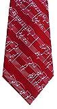 Musik Krawatte rot weisse Musiknoten Polyester + Geschenkhülle